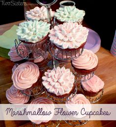 We have step-by-step directions on how to make beautiful Flower Cupcakes with Marshmallow Petals for a spring party, Easter or Mother's Day.