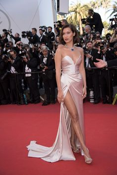 Bella Hadid wore a custom Alexander Vauthier dress with Olgana Paris shoes and Bulgari jewellery at the 'Ismael's Ghosts' & Opening Gala Red Carpet at the Cannes Film Festival – May 17 2017