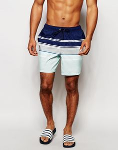 b02a732aed01a ASOS Mid Length Swim Shorts With Engineered Stripe Man Swimming, Mens Swim  Shorts, Mid