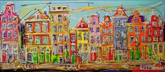 Online veilinghuis Catawiki: Mathias - Canal of Amsterdam, typical houses