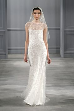 Celestial, Wedding Dress, Spring Summer 2014, Monique Lhuillier Silk white and gold embroidered tulle illusion neckline sheath Silk white short embroidered tulle two-tiered veil Intrigue headpiece - frosted crystal headpiece with floral detail at center