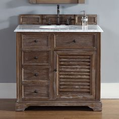 Savannah 36 Inch Bathroom Vanity In Driftwood Finish, Carrara White Stone  Marble Top With Backsplash U0026 Undermount Sink