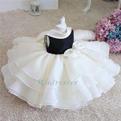 2017 Black Ivory Ruffled Flower Girl Dresses Tea Length Children Dress Baby Infant Dress Girls Birthday Party Christening Communion Dresses