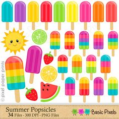 Summer Popsicles Clipart - Digital Clip Art - Popsicles - Personal and commercial use Clipart Png, Fruit Clipart, Pixel Print, Project Yourself, Make It Yourself, Summer Bulletin Boards, Popsicle Party, Freebies, Stickers