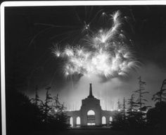 Fireworks light the night sky over the Coliseum. http://digitallibrary.usc.edu/cdm/ref/collection/p15799coll170/id/21570