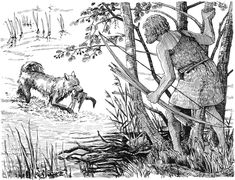 A hunter of the Mesolithic Ertebølle Culture duck hunting with his dog by Flemming Bau