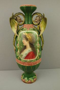 Monumental Majolica portrait vase with winged dragon handles, great detail, on May 2014 Porcelain Ceramics, Ceramic Pottery, Pottery Art, Victorian Vases, Old Portraits, Virtual Museum, Vintage Pottery, Belle Epoque, Art And Architecture
