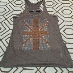 Gray tank top w/rhinestone British flag, sz small Lightweight, small tank with beautiful jeweled British flag design. Very soft material. Brand new. Tops Tank Tops