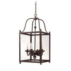 17-in W Shandy Old Bronze Pendant Light with Clear Shade