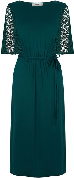 Womens bottle green midi dress from Oasis - £45 at ClothingByColour.com