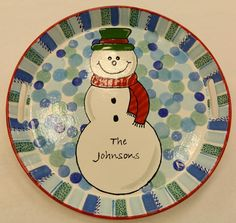 Holiday Snowman platter. Color Me Mine Tucson, #cmmtucson