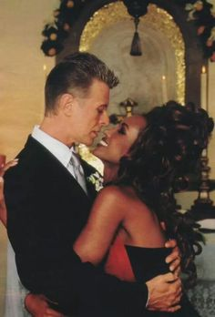1992 - David Bowie and his wife Iman, wedding day 90s.
