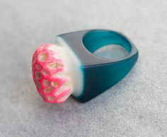 Coral Resin Ring Neon Red Teal Blue Square Shape Cocktail Ring OOAK modern minimalist jewelry rusteam