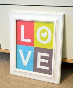 Love 8x10 print- love block print- unique nursery art- bright nursery print. $9.00, via Etsy.