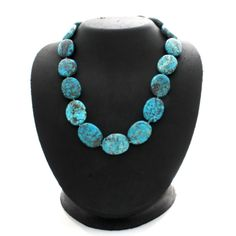 """Tina Segal Sterling Silver Oval Turquoise 18"""" Necklace 224Q #TinaSegal #StrandString #qvcx"""