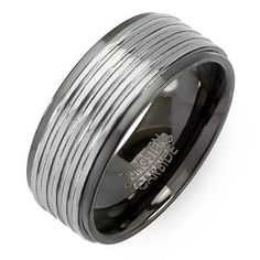 BESTSELLER! Tungsten Carbide Men`s Ladies Unisex Ring Wedding Band 9 MM Black Plating Grooved Shiny Comfort Fit (Available in Sizes 8... $14.79