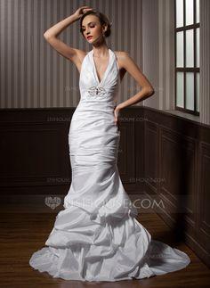 Trumpet/Mermaid Halter Court Train Taffeta Wedding Dress With Ruffle Beading (002001271)
