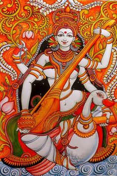 Maa Goddess Saraswathi depicted in Kerala mural style. Saraswati Painting, Ganesha Painting, Madhubani Painting, Indian Traditional Paintings, Indian Art Paintings, Ancient Indian Paintings, Abstract Paintings, Oil Paintings, Hindus