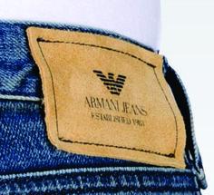 Etiqueta de cintura para jeans. Armani Jeans.