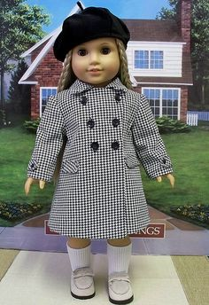 1970's Classic Houndstooth Double Breasted Coat and Beret for Julie