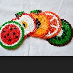 Fruits coasters hama perler beads by meganjb123