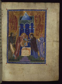 T'oros Roslin - Presentation in the Temple - Walters - Open Obverse - Category:Walters MS - Toros Roslin Gospels - Wikimedia Commons Medieval Books, Medieval Manuscript, Medieval Art, Illuminated Manuscript, Baltimore, Renaissance, Jesus In The Temple, Arm Art, Book Of Hours