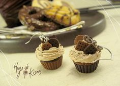 Chocolate Cupcake Earrings Miniature Food by HugsKissesMINI