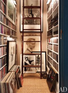 A Phillip Jeffries grass cloth lines the music closet in decorator David Jimenez's Kansas City apartment.