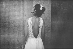The dress that goes with the hair! Custom wedding dress by French designer Laure de Sagazan French Wedding Dress, Lace Back Wedding Dress, Custom Wedding Dress, Wedding Gowns, Lace Wedding, Dream Wedding, Wedding Day, Backless Wedding, Chic Wedding