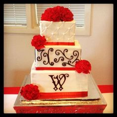 Red and Black Wedding Cake- Perfect considering I'm going to be a Wooten :)