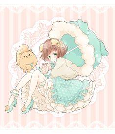 ✮ ANIME ART ✮ sweet lolita. . .puppy. . .dog ears. . .parasol. . .capelet. . .bloomers. . .cute. . .kawaii