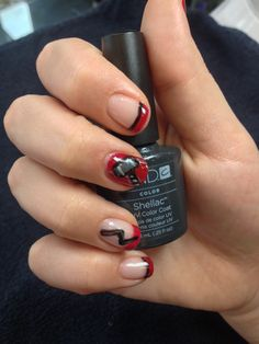 Pinterest inspired THOR nails completed with Brisa Lite and Decadence Shellac and nail art by Kimberly Grove