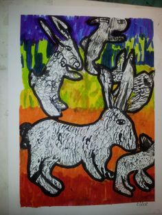 Tuesday after school art club - a whole lot of rabbits galavanting about