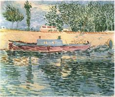 Painting, Oil on Canvas Paris, France: Spring, 1887 Private collection Van Gogh: Banks of the Seine with Boats, The Van Gogh Gallery