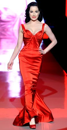 Who made Dita Von Teese's red gown that she wore  to the Heart Truth Red Dress show in New York on Febuary 9, 2011?