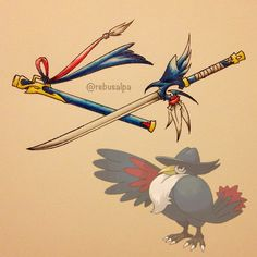 This fan art of Pokemon and Digimon turned into seriously deadly weaponry is awesome! Pokemon Fusion, Pokemon Oc, Anime Weapons, Fantasy Weapons, Cool Swords, Pokemon Pictures, Digimon, Game Art, Nerd