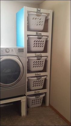 Organize your laundry room. Neat idea if you have the space. Organize your laundry room. Neat idea if you have the space. Organize your laundry room. Neat idea if you have the space. Laundry Room Organization, Laundry Room Design, Laundry Basket Storage, Laundry Area, Laundry Basket Dresser, Kitchen Storage, Storage Room Organization, Laundry Basket Holder, Laundry Room Baskets