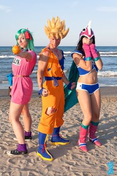 Bulma an Chichi from Dragon Ball and SSJ Goku from Dragon Ball Z. View more EPIC cosplay at http://pinterest.com/SuburbanFandom/cosplay/