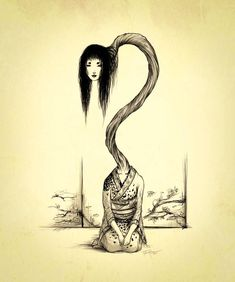 """Rokurokubi are Japanese monsters, a type of cursed human. Japanese Mythology, Japanese Folklore, Japanese Art, Japanese Yokai, Arte Horror, Horror Art, Mythical Creatures Art, Mythological Creatures, Creepy Drawings"