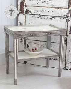 Antique Vintage Victorian Style Side/End/Accent Table with Hand-painted Top - Shabby Chic