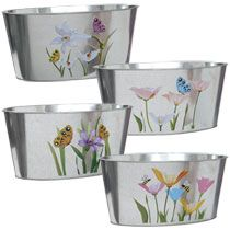Galvanized Metal Floral Planters from the Dollar Tree | Perfect for the garden party favor/gift 'pots | stencil the blank side with each guests name or a short garden quote, fill with gloves, seed packets, floral or herbal scented hand lotions, butterfly cookies, and my hand painted garden stones :).
