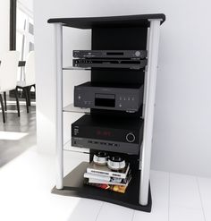 dCOR design Cruise Component Rack in Midnight Black Treadmill Desk, Audio Rack, Stereo Cabinet, Rack Design, Home Entertainment, Glass Shelves, All Modern, Shoe Rack, Shelving