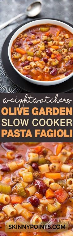 Olive Garden Slow Cooker Pasta Fagioli Recipe With Only 5 Weight Wacthers Smart Points recipes pasta Crock Pot Recipes, Ww Recipes, Slow Cooker Recipes, Pasta Recipes, Soup Recipes, Cooking Recipes, Healthy Recipes, Recipies, Recipe Pasta