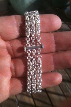 3-strand Silver Byzantine Chainmaille Bracelet
