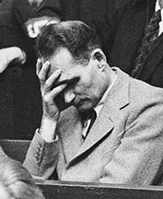 "30 Nov 45: At the Nuremberg trials, former Deputy Fuhrer Rudolph Hess, whose sanity had been in question since he flew to Scotland in May of 1941 to ""broker a peace"" with Britain, causes consternation by slipping in and out of amnesia. More: http://scanningwwii.com/a?d=1130&s=451130 #WWII"