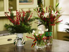 Dress up a few simple flowers and evergreens with winterberries. J. Schwanke, a floral expert at uBloom.com, slipped ribbons from a previous year's Christmas gifts over these small vases and added white tulips, lilies and greenery. Arrangements like these are a quick and easy way to upcycle and recycle.