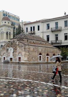 Raining at Monastiraki square, Athens, Greece Athens Hotel, Athens City, Attica Greece, Athens Greece, Wonderful Places, Beautiful Places, Places To Travel, Places To Visit, Greek Beauty