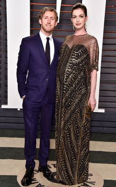 Adam Shulman & Anne Hathaway from Vanity Fair Oscars Party 2016: What the Stars Wore | E! Online