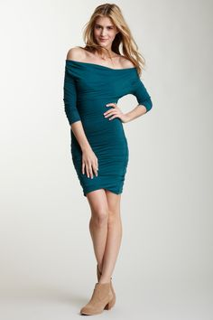 James Perse Funnel Neck Fitted Dress