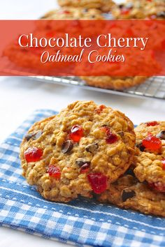 Chocolate Cherry Oatmeal  Cookies - These very eye catching cookies are crispy and chewy and make welcome additions to packed lunches. They freeze well too and would make a great addition to a Holiday baking list.
